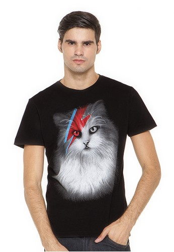 Poshboy T-shirt Print cat with eyes of lightning