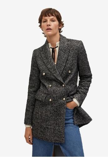 Mango grey Textured Wrap Coat C594CAA7857F7FGS_1