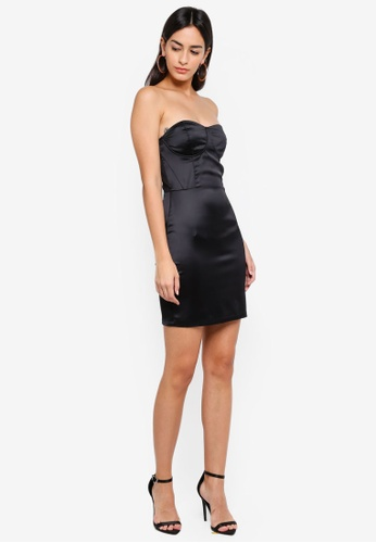2c87e3ca7d3 Shop MISSGUIDED Satin Bustcup Bandeau Bodycon Dress Online on ZALORA  Philippines