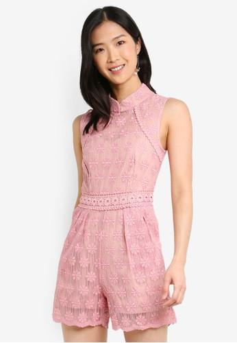 Megane pink Red Romance Edmee Mandarin Collar Romper AD4AFAAE0966B7GS_1