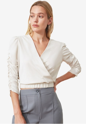 Trendyol beige Ruched Sleeve Wrap Front Crop Top BE1B6AA51678C3GS_1