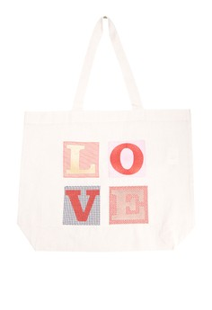 LOVE Embroidered Canvas Tote Bag