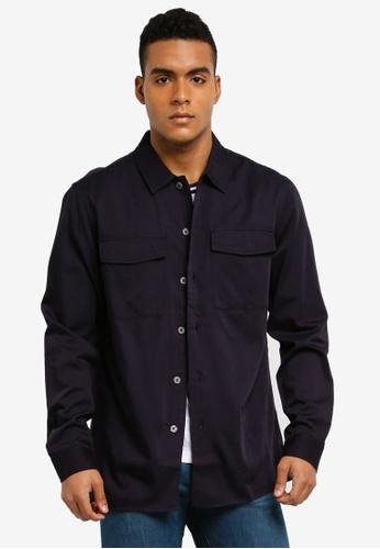 MANGO Man blue Regular-Fit Pockets Overshirt 4A9F7AA78063ADGS_1