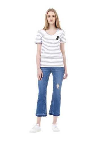 VOV(Voice of Voices) grey Grey Striped T-Shirt With Cactus Appliqué A7F22AA670B69EGS_1