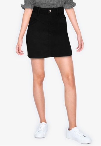 ZALORA BASICS black Yoke Front Denim Skirt 0EB05AA3A8411DGS_1