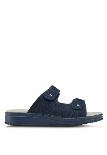 Bata blue Double Strap Slip On Wedges 8DC2ASH683486EGS_1