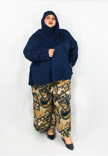 Zaryluq black and brown and yellow and blue and beige and gold and navy Curve Baroque Pants in Black Dahlia FEA86AA3BB730FGS_1