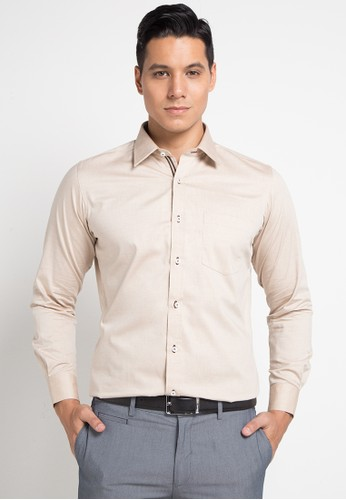 GQ MEN'S WEAR brown Modern Fit Long Sleeve Shirt 4D92BAA7A3DFE5GS_1