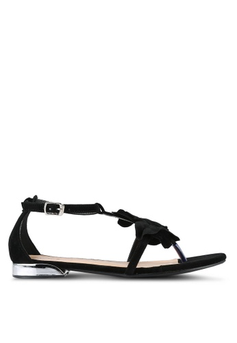 Something Borrowed black Suede Flower Sandals 7E7F0SH61D4D67GS_1