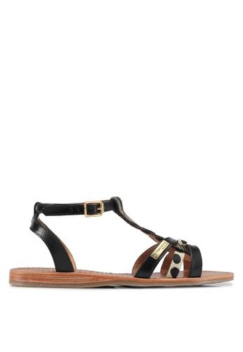 Les Tropeziennes Par M. Belarbi multi Hams Black Gold Braided Strap Leather Sandals 41778SH6B6C8D6GS_1