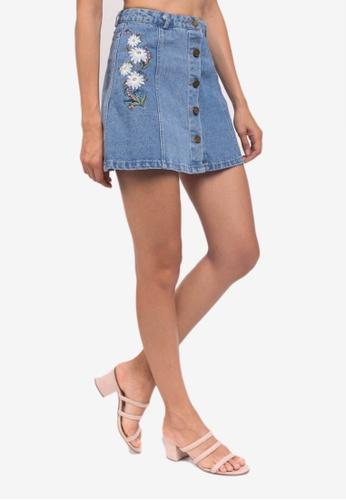 Caoros blue and multi Embroidered Denim Mini Skirt FB672AAB654622GS_1
