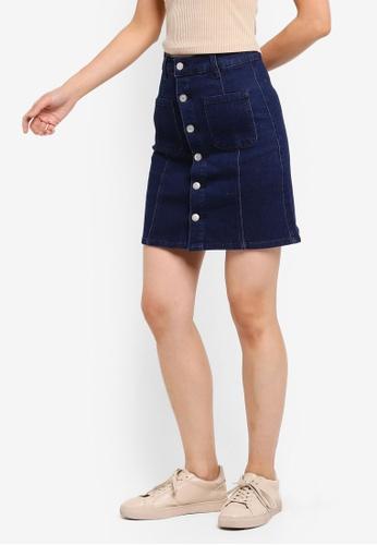ZALORA BASICS blue Basic Denim Button Detail Skirt 25DD7AA814C83DGS_1
