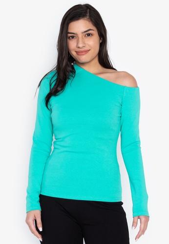 Wear Kris blue Asymmetric Knit Top 69C55AA47669D6GS_1