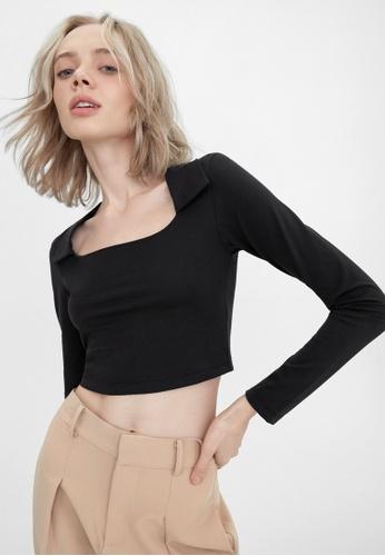 Pomelo black Sustainable Collar Long Sleeve Tee - Black D62A2AAF9C9AA6GS_1
