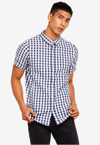 Brave Soul navy Gingham Short Sleeve Shirt 75948AAD4E8036GS_1