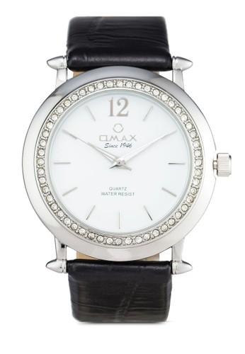 esprit 評價Omax AB07 閃鑽圓框仿皮手錶, 錶類, 其它錶帶