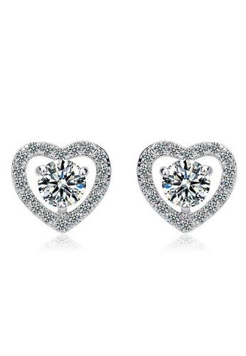 Vivere Rosse silver Pure Love Stud Earrings VI014AC61LJYMY_1