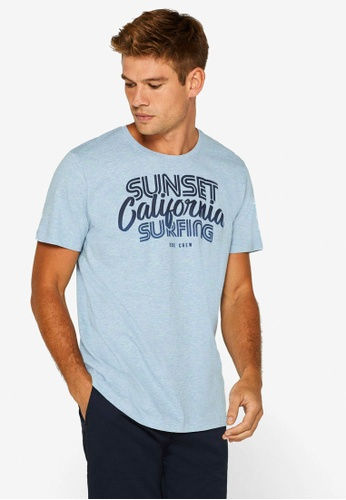 ESPRIT 藍色 Surfer Print T-襯衫 982C5AA0733C49GS_1