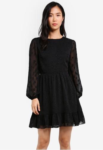 ZALORA black Fit & Flare Balloon Sleeve Dress EB544AADA3DA52GS_1
