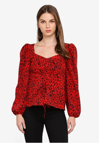TOPSHOP red Red Leopard Lace Up Prairie Blouse 33764AA1D4EFF0GS_1