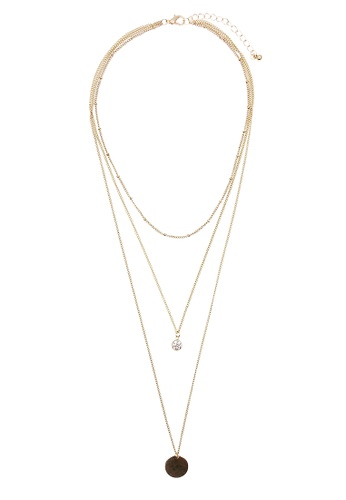LUCCACAL gold Layered Circle Pendant Necklace LU294AC0SMDUMY_1
