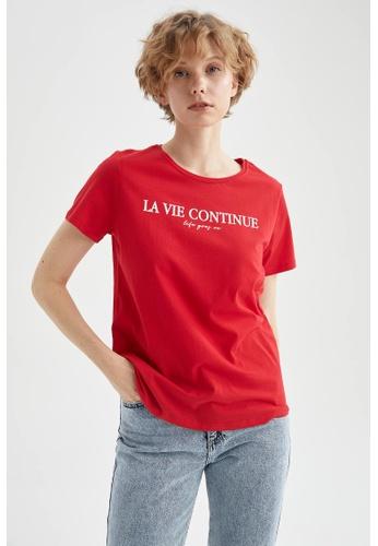 DeFacto red Short Sleeve Round Neck Cotton T-Shirt 87819AAEB73069GS_1