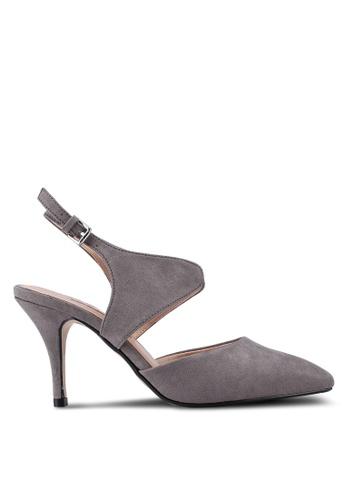 Dorothy Perkins 灰色 麂皮尖頭繞帶高跟鞋 30E48SH568948DGS_1