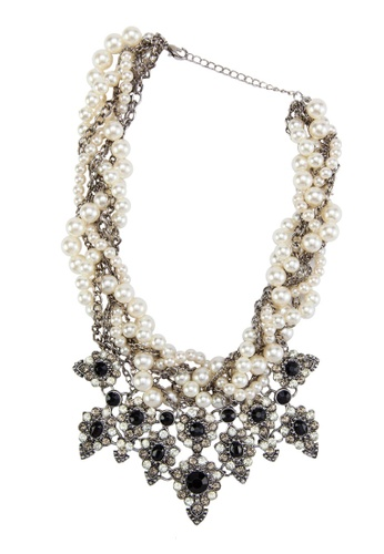 Zolace black and white and multi Pearl Just Wanna Have Fun Necklace ZO350AC08AOHMY_1