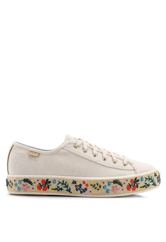 309999687 Keds beige Triple Kick Rifle Paper Co. Embroidered Jute Sneakers  F7D4ASH6DABC38GS 1