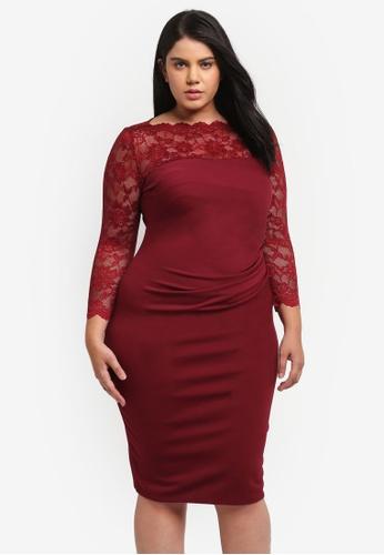 Goddiva red Plus Size Midi Dress With Lace Neckline GO975AA0SSCYMY_1
