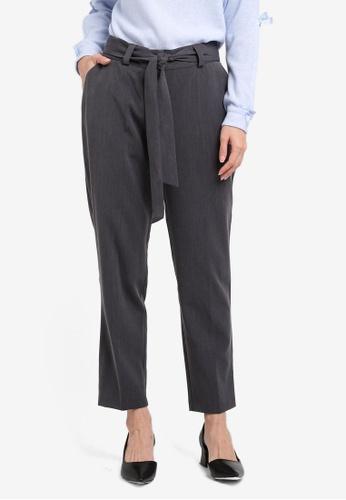 Dorothy Perkins grey Tie Ankle Grazer Trousers DO816AA0SRDGMY_1