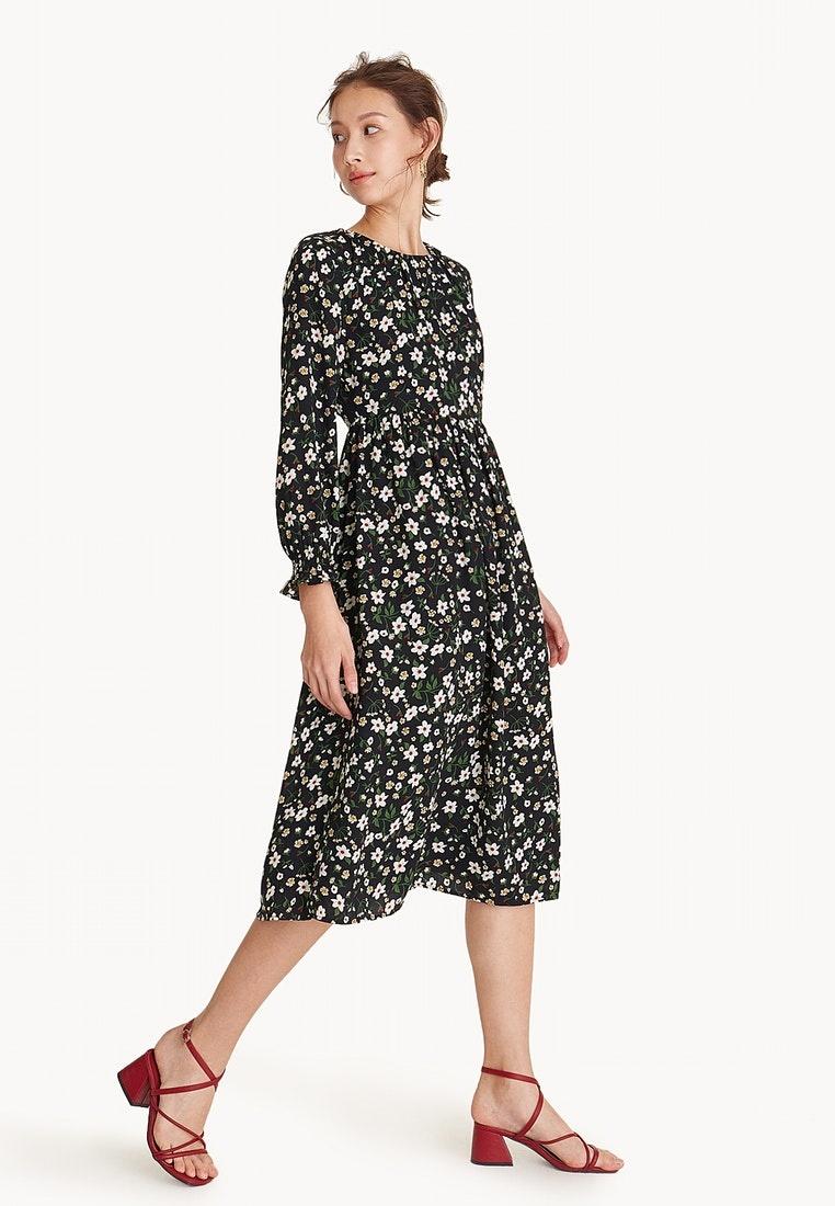 Black Black Floral Long Sleeve Midi Dress Pomelo 10qaqf-klausecares.com 86e12efe8