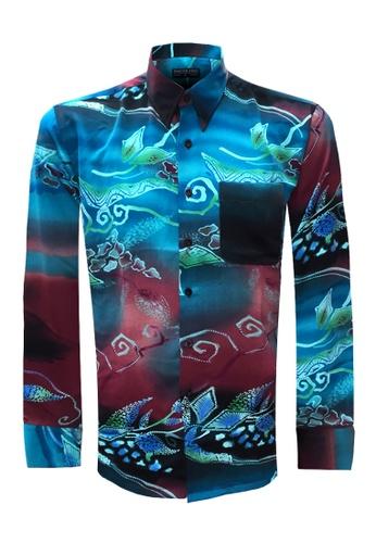 Pacolino brown Long Sleeve Printed Batik Shirt PA995AA81CKGMY_1