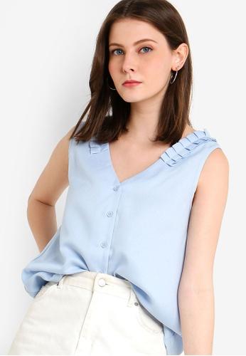 ZALORA 藍色 褶飾上衣 66F98AAD71A6D9GS_1
