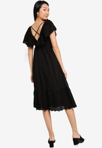 ZALORA BASICS black Eyelet Babydoll Maxi Dress A922CAA36A7434GS_1