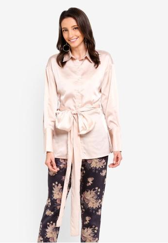 Zalia beige Front Tie Shirt 37D5DAAD25D471GS_1