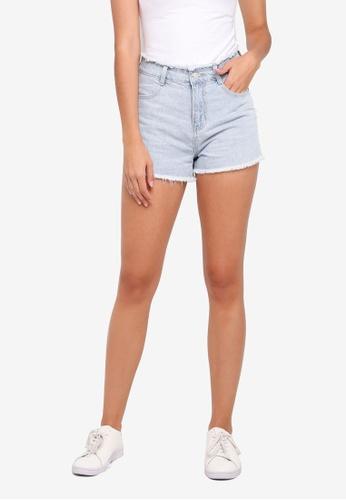 Something Borrowed blue Frayed Denim Cut Off Shorts C6364AA49AD57AGS_1