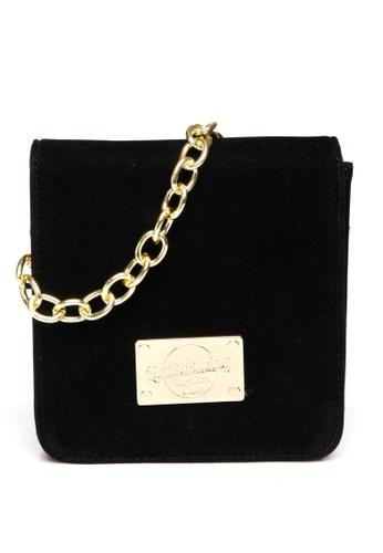 Limkokwing Fashion Club black Velvet Ornate Chain Square Bag LI086AC25GNIMY_1
