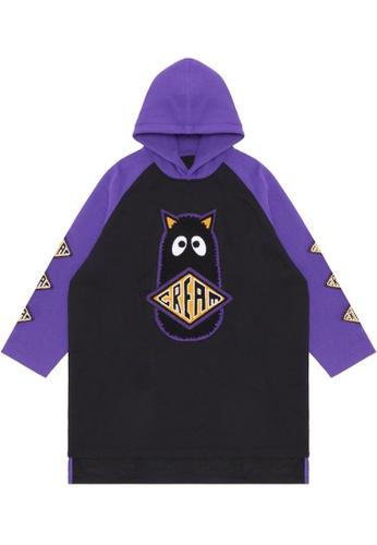Mini cream purple Logo patch hoodie dress E0C7DAA187F8EDGS_1