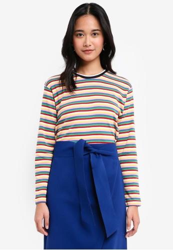 TOPSHOP multi Long Sleeve Rainbow Striped T-Shirt 24091AA565BFAEGS_1