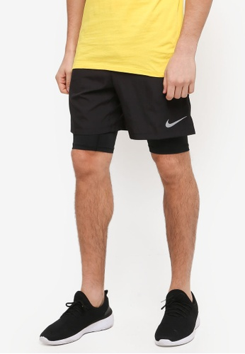 "Nike black Men's Nike Challenger 2-In-1 7"" Shorts 7DB6AAAEB9431CGS_1"
