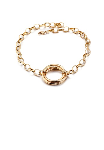 Glamorousky silver Simple Temperament Plated Gold Geometric Circle 316L Stainless Steel Necklace 95888AC33CE234GS_1