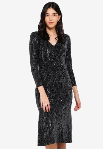 Wallis black Petite Black Shimmer Dress D702CAA88698DAGS_1