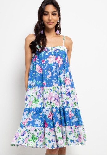 Indigo and Rose blue Sophia swing midi dress F5FC6AA6E6B0F3GS_1