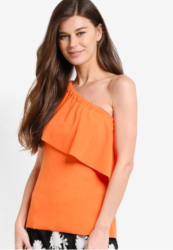 WAREHOUSE orange One Shoulder Crepe Frill Top WA653AA35NVKMY_1