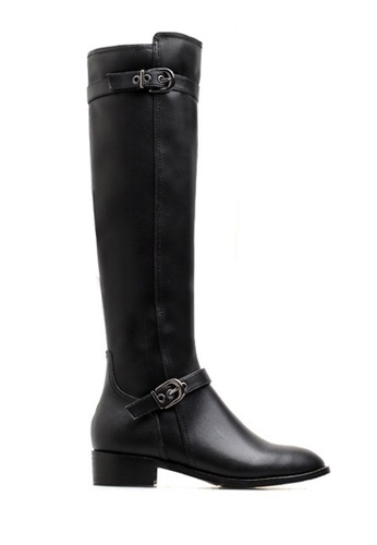 Twenty Eight Shoes black Double Buckles Riding Leather Boots VB6196 075A8SH807FC32GS_1