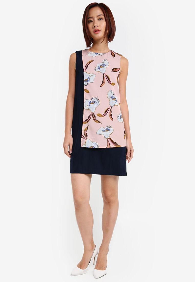 Colorblock ZALORA Navy Magnolia Pink Midi Dress 1zqwvS1