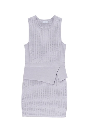 KLAPS grey Textured Mini Dress 1BC63AAD99CD98GS_1