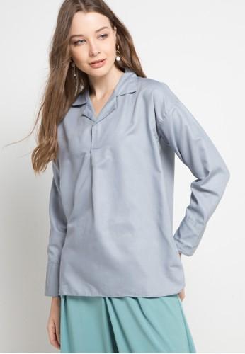Imperial grey Lili Collar Top 56A48AA9FA8E83GS_1