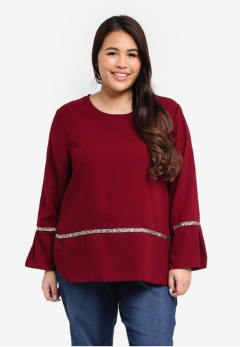 peace collections red Plus Size Blouse 0D616AA54D291FGS_1
